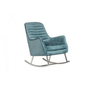 Кресло-качалка велюровое бирюзовое