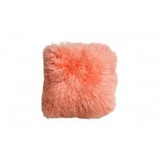 Подушка меховая персиковая односторонняя